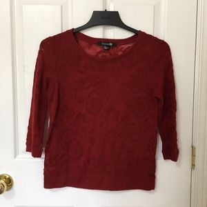 ⭐️ 2/$20 Forever 21 Red Rose Knit Sweater